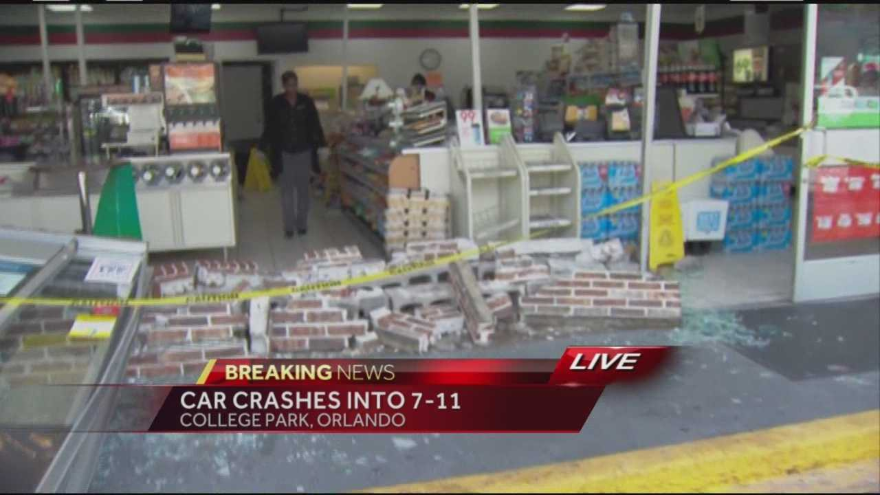 A car crashed into an Orlando 7-Eleven Friday afternoon, according to the Orlando Fire Department.