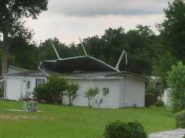 Storm damage in Hawthorne Hills mobile home park.