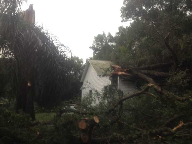 Storm damage in Lake Helen in Volusia County.