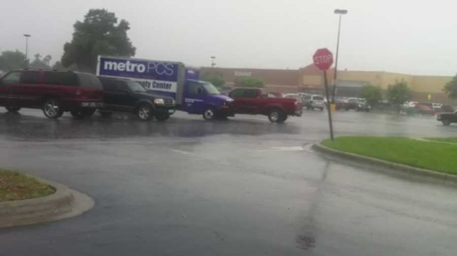 Heavy rain fell on Colonial Dr. on Wednesday.