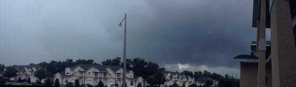 Panoramic view of Kissimmee's dark and cloudy skies.