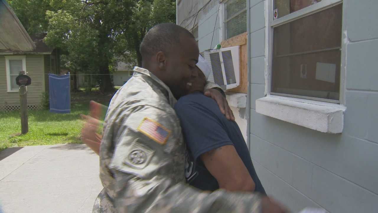A local soldier gave his father a big surprise Sunday.