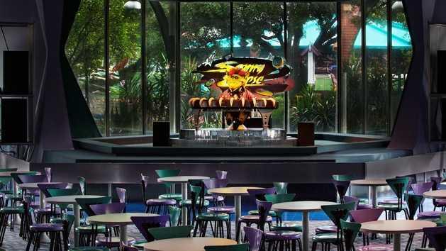 Cosmic Ray's Starlight Cafe has a veggie burger, veggie sandwich and a Greek salad, as well as no-sugar-added mango gelato.