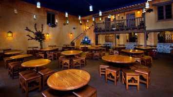 Pecos Bill Tall Tale Inn & Cafe offers a Southwest chicken salad and a veggie burger.
