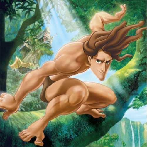 The tree-swinging character from the 1999 movie Tarzan.