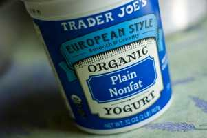 Organic plain yogurt was rated a best buy at Trader Joe's. A 32-ounce of yogurt beats competing stores by over $.50.