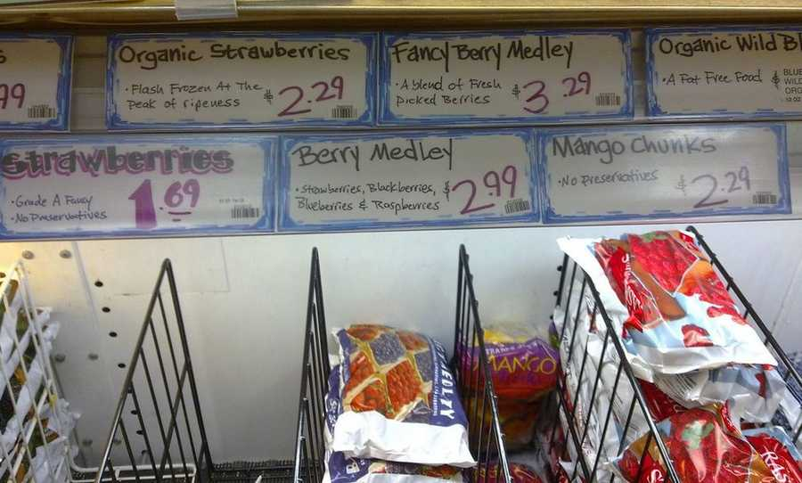 Frozen fruit was rated a worst buy at Trader Joe's. Since the store only sells small packages of frozen fruit, you will pay about three times per ounce than Walmart's prices.