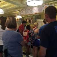 Guests waiting to get ice cream at Florean Fortescue's Ice-Cream Parlour