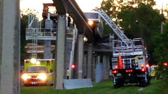 A Disney World monorail train had to be evacuated Sunday night after what passengers said was a possible lightning strike.