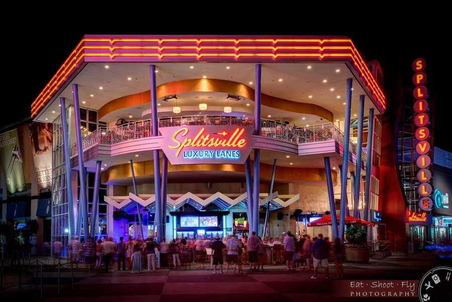 18. Splitsville Located in Downtown Disney, this is where you can bowl, watch the game on one of several televisions, eat from a wide menu, and drink from a list of hand crafted cocktails.Hours: Monday - Friday open at 10:30 a.m., Saturday - Sunday open at 10 a.m. Address: 1494 E. Buena Vista Dr., Lake Buena Vista, FL 32830
