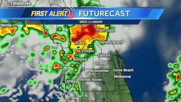 See an hour-by-hour look at storms expected today.