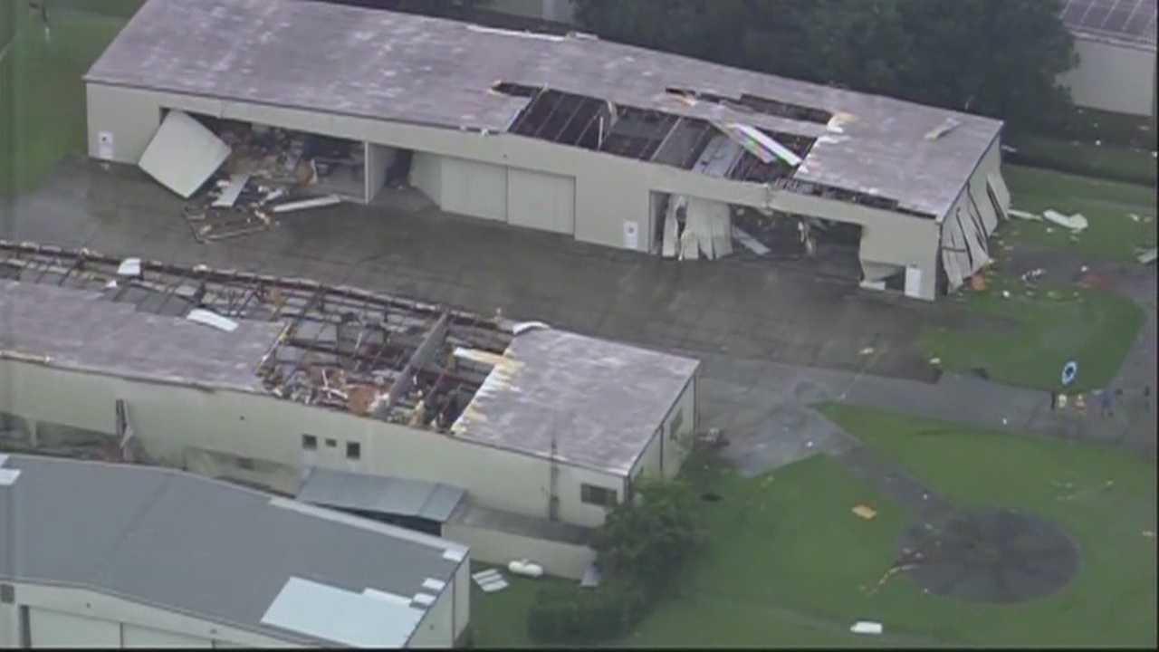 Tornado tore through Massey Ranch Air Park in Edgewater Friday.