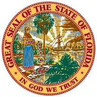 This image, the revised Great Seal of the State of Florida, became official in 1985. This seal corrected errors in the previous seal, including revising a Western Plains Indian to a Seminole Indian woman.