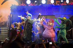 Disney villains Hades, Pain and Panic kick off the Hades Hangout and Dance Party Saturday during Villains Unleashed, an all-new after-hours event at Disney's Hollywood Studios. (Chloe Rice, photographer)