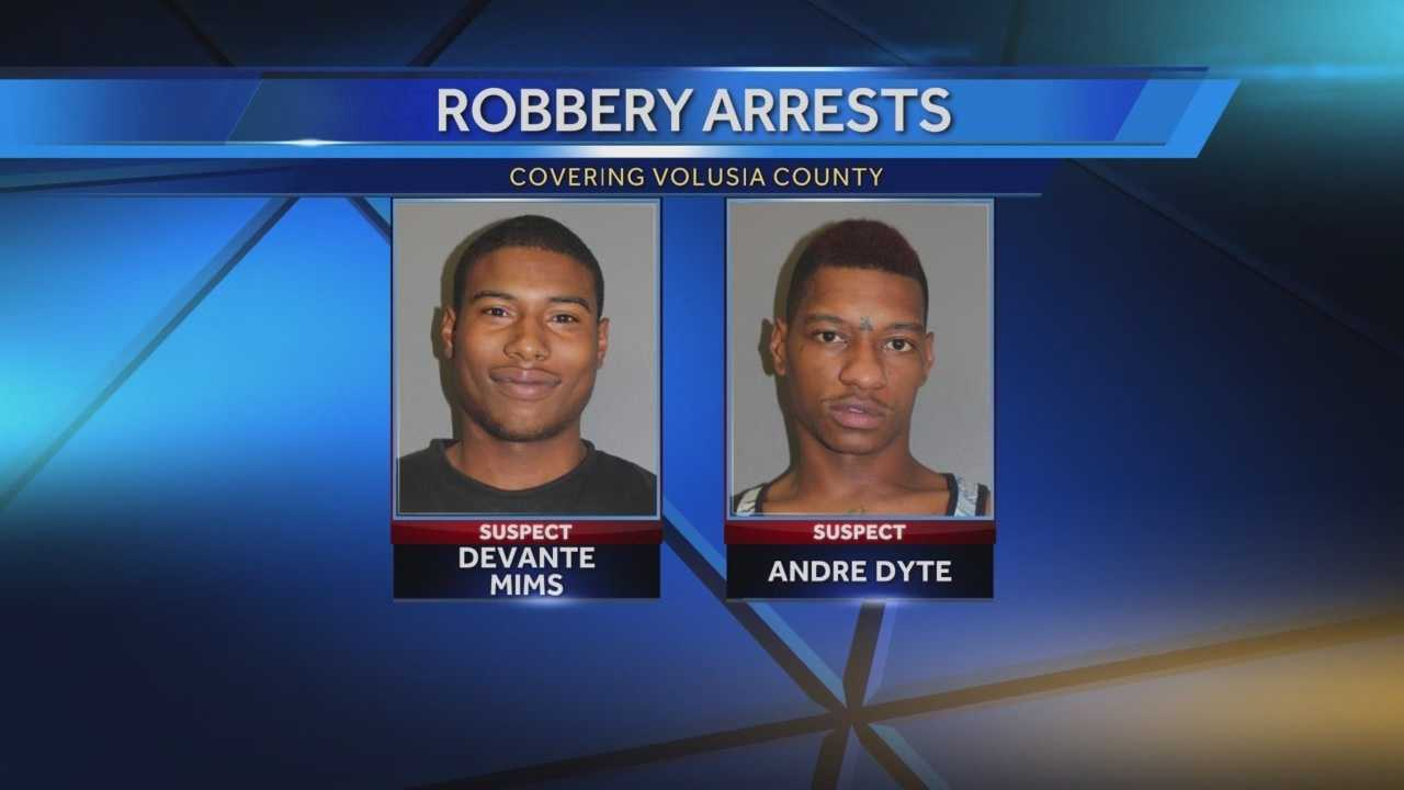Two men stole cash and a man's pants in a robbery outside a food store in Daytona Beach early Thursday morning, police said.