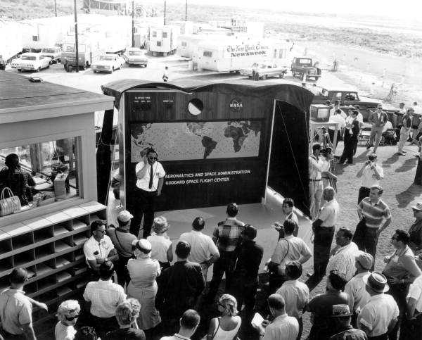 1963: Reporters at the Patrick Air Force base