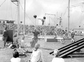 1967: Florida State University Flying High Circus performs during Oktoberfest