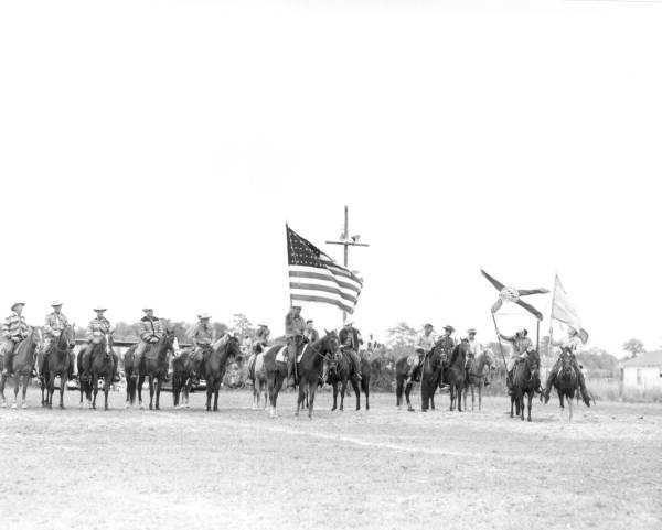 1954: Cowboys with flags in New Smyrna Beach