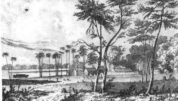 1837: Drawing of Fort Mellon on Lake Monroe