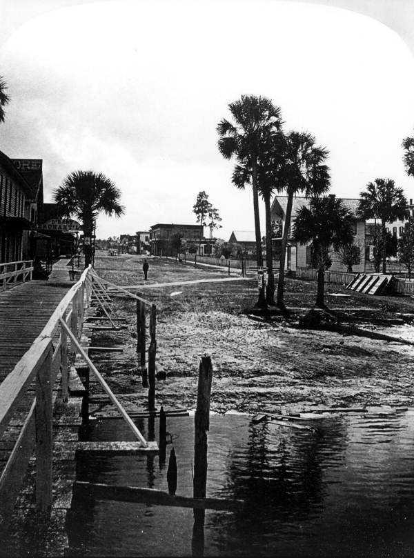 1891: View of the neighborhood from footbridge in Sanford