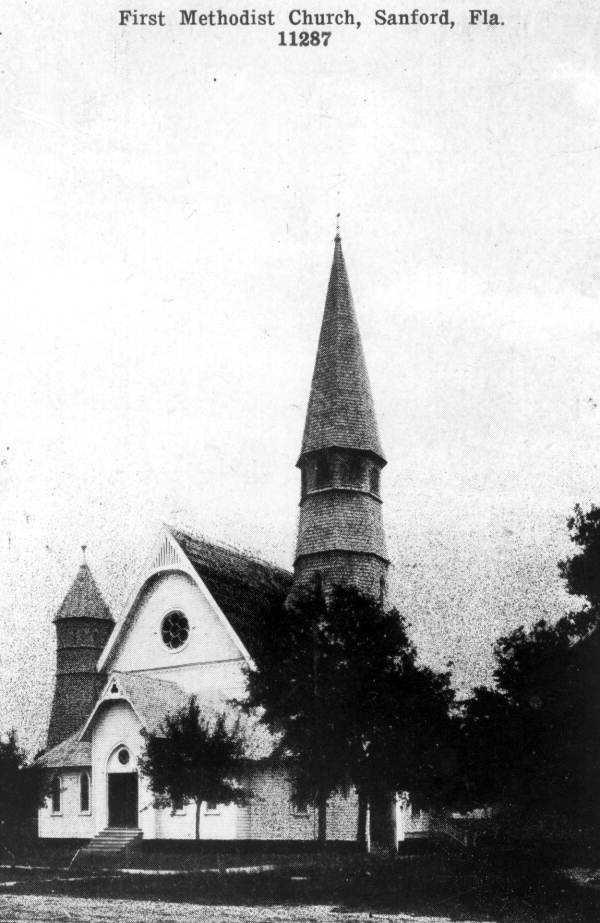 1910: View of First Methodist Church in Sanford.