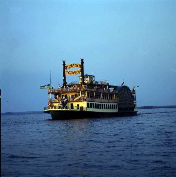 """1990: View of the """"Grand Romance"""" side-wheeler tour boat in Sanford"""