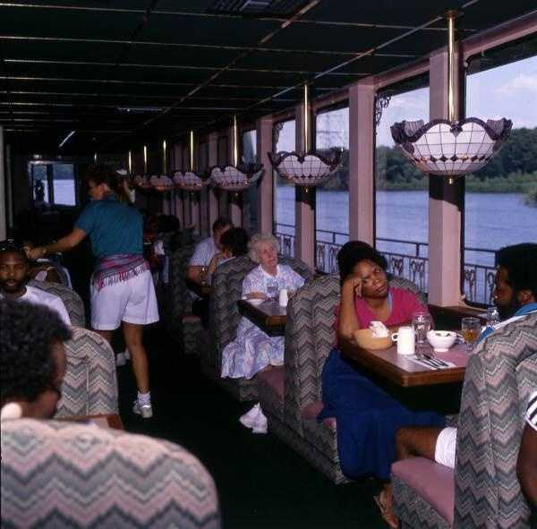 """1990: View showing tourists aboard the """"Grand Romance"""" tour boat in Sanford."""