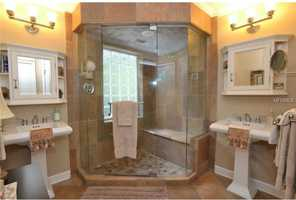 Huge shower in the master bathroom.