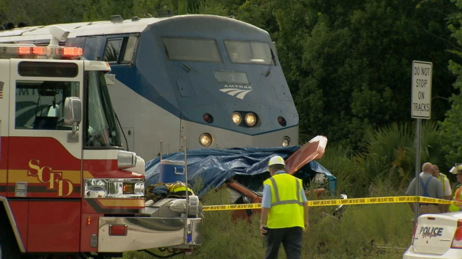 A man died Saturday when a train hit the pickup he was driving in Longwood.