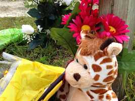 Flowers and stuffed animals have been placed at the scene of a shooting in Bell, Fla., where six children were killed.