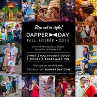 3. Dapper Day at Walt Disney World ResortWhen: Sat., Sept. 27, until park closes Where: Disney's Hollywood Studios Cost: Park admission*** Dapper Day is an independently  organized social gathering and is not associated with Walt Disney Enterprises.Step out in style for Dapper Day Fall Soiree at the Walt Disney World Resort where all sophisticated fashions, from vintage-inspired to contemporary chic, are encouraged.After park closing, hop on a bus, boat, or walk to Disney's Boardwalk Inn and enjoy dancing and more at the clubs, bars, and arcades with a dapper crowd until 1 a.m.
