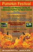 11. HorsePower Ranch Pumpkin FestivalWhen:Oct. 25 and 26, Nov. 2Where:280 Campbell Ranch Run, Geneva, FL 32732Admission:FREEActivities:DJ, face painter, pick your own pumpkin, arts and crafts, pony rides, petting zoo, full bar, classic muscle car show Nov. 2