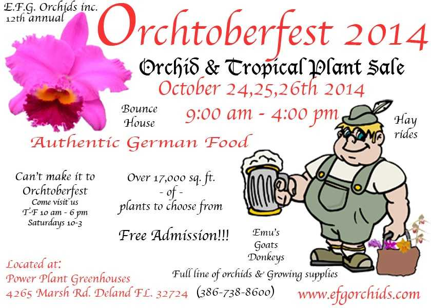 12. OrchtoberfestWhen: Oct. 24-26, 9 a.m. to 4 p.m.Where:4265 Marsh Rd., DeLand, FL 32724Admission:FREEActivities:Bounce house, German food, hay rides