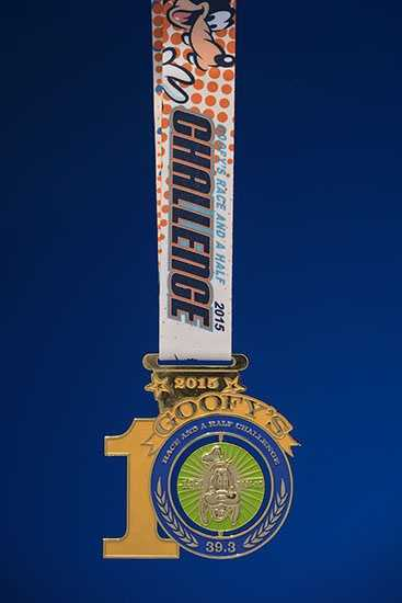 Walt Disney World is celebrating the 10th anniversary of Goofy's Race and a Half Challenge this January. Once runners cross the finish line of the marathon, they get a marathon medal and a commemorative anniversary Goofy medal. The commemorative medial features a spinning Goofy in the middle.