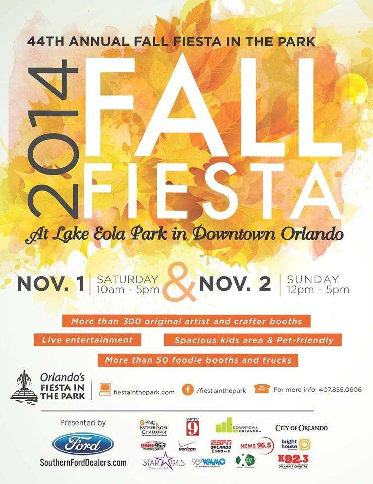12. Fall Fiesta in the ParkWhen: Nov. 1, 10 a.m. to 5 p.m. and Nov. 2, 12 p.m. to 5 p.m.Where: Lake Eola Park, 195 N Rosalind Ave., Orlando, FL 32801Admission: FreeActivities: Live entertainment, food, the work of more than 600 artisans