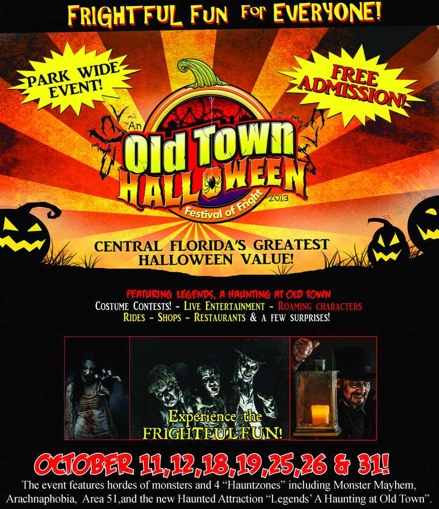 "3. Old Town Halloween FestivalWhen: Every Sat. and Sun. in Oct. Old Town gets frightfully fun for Halloween with costume contests, roaming characters and ""dancing dead"" performance! You'll also find other live entertainment, shops, dining, the car cruise and more!Where: Old Town Shopping, Dining and Entertainment Attraction5770 W. Irlo Bronson Memorial Hwy. Kissimmee, FL"