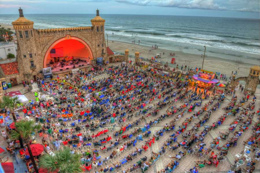 15. Friends of the Bandshell at Daytona BeachThe 4,000-seat Friends of the Bandshell is a nonprofit show hosting bands playing everything from country to classical. Previous concerts have featured New River Bluegrass Band, 5 O'Clock Charlie, Michael English, Percy Sledge, and the U.S. Air Force Academy Band.Address: 70 Boardwalk, Daytona Beach, FL 32118