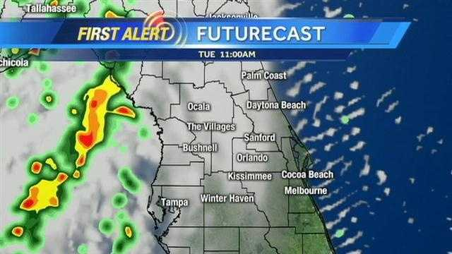 Severe storms are expected to move through Central Florida on Tuesday
