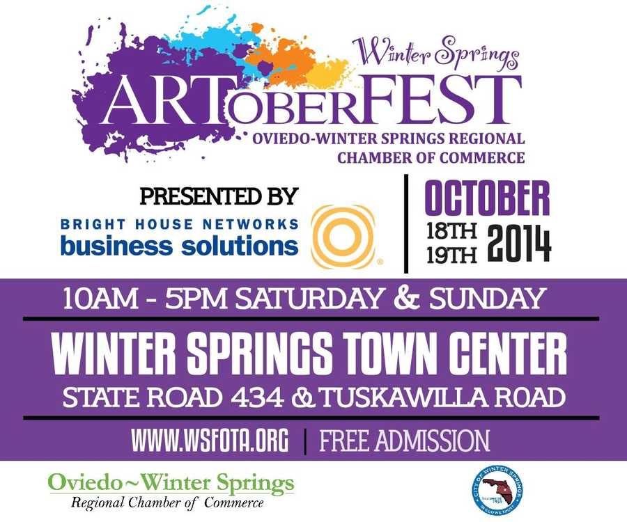 4. ARToberFestStroll along beautiful Blumberg Boulevard viewing the work of 125 fine artists, while enjoying live music and entertainment and tasting a variety of German inspired foods, including plenty of German beer.When:Sat. & Sun., 10 a.m. - 5 p.m.Where:Winter Springs Town Center, Northwest corner of SR 434 and Tuskawilla Road, Winter Springs, FL 32708Admission: FREE
