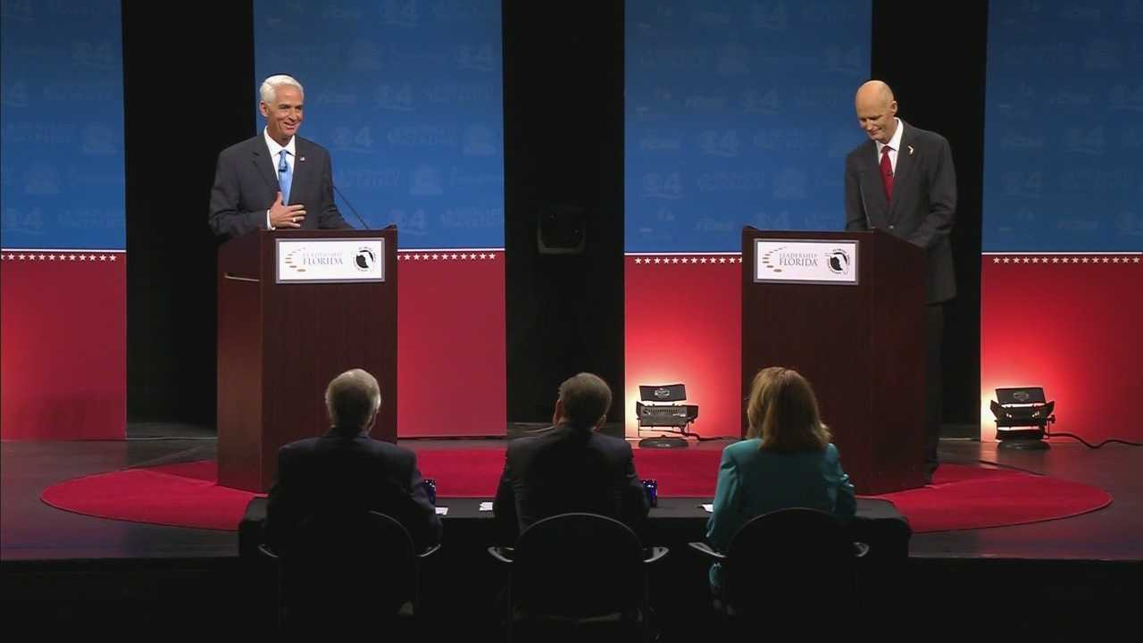 Republican Gov. Rick Scott and Republican-turned-Democrat former Gov. Charlie Crist squared off in the second of three debates.