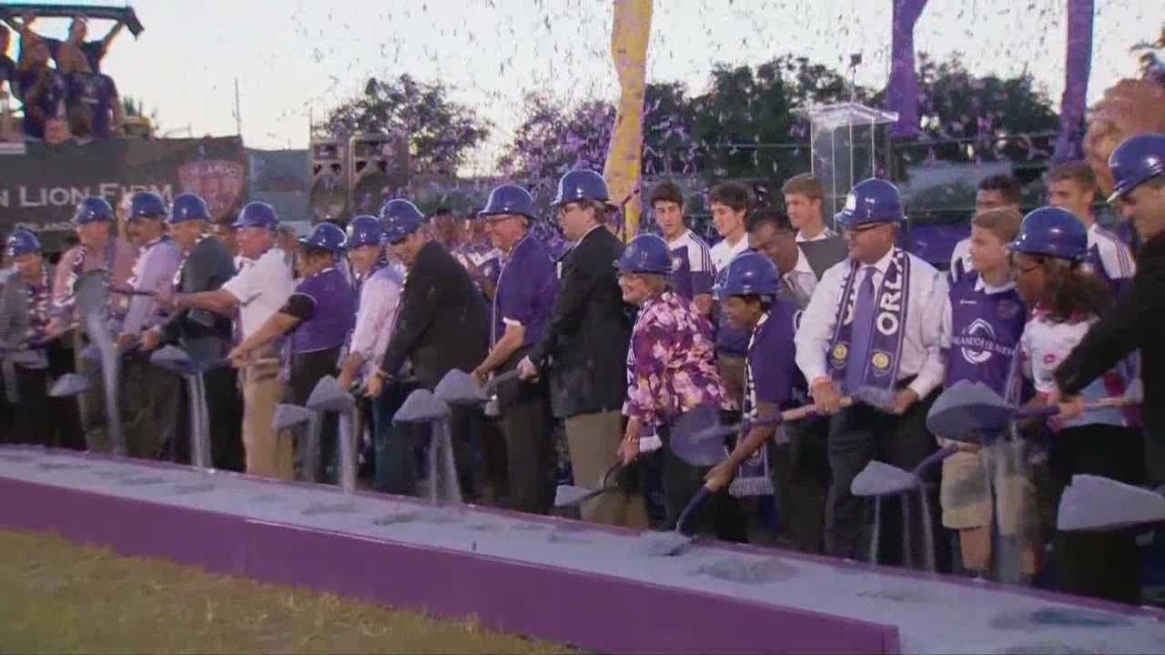 Orlando City Soccer fans are out in full force as the team breaks ground for the new stadium in downtown Orlando.