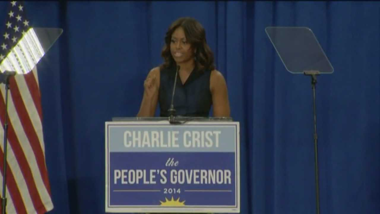 The Charlie Crist gubernatorial campaign got a boost from the White House on Friday when First Lady Michelle Obama visited Orlando.