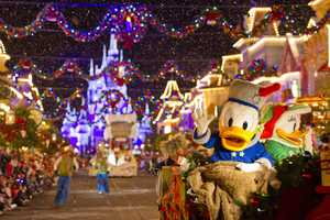 "Donald and Daisy Duck spread holiday cheer during ""Mickey's Once Upon a Christmastime Parade,"" a magical entertainment offering during Mickey's Very Merry Christmas Party."