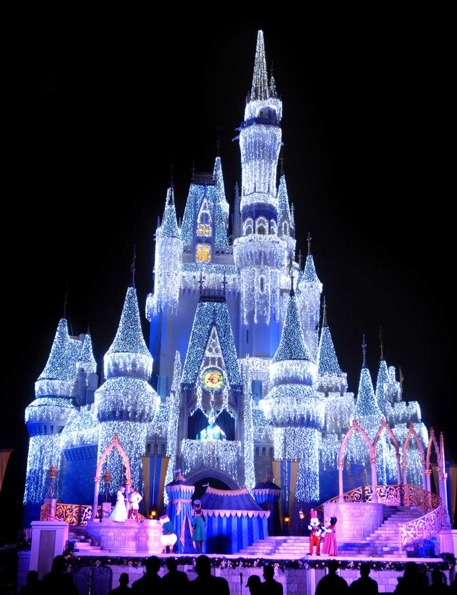 Ice Castle: Shimmering lights illuminate Cinderella Castle in Magic Kingdom during the holidays. The Magic Kingdom icon is bathed in more than 200,000 tiny white lights that add a special sparkle to the season.