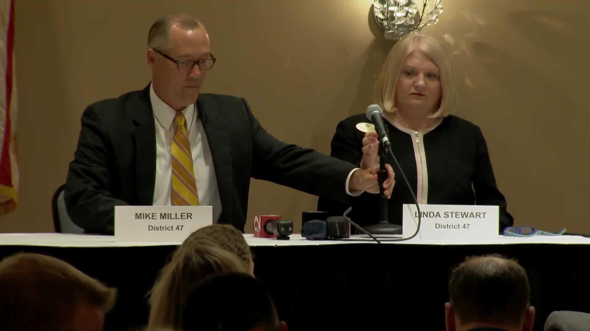 Incumbent Rep. Linda Stewart debates Mike Miller in the District 47 race.