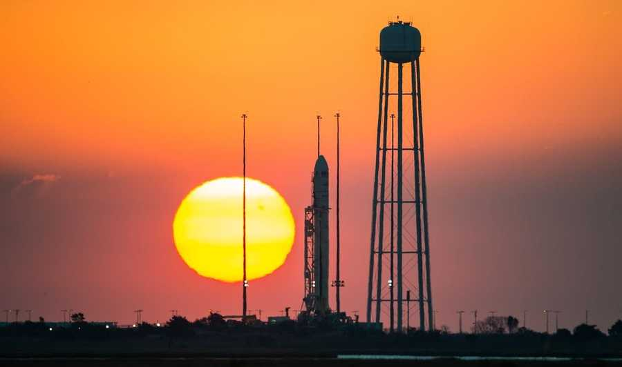 Antares rocket sits on the launch pad at sunrise Tuesday morning.