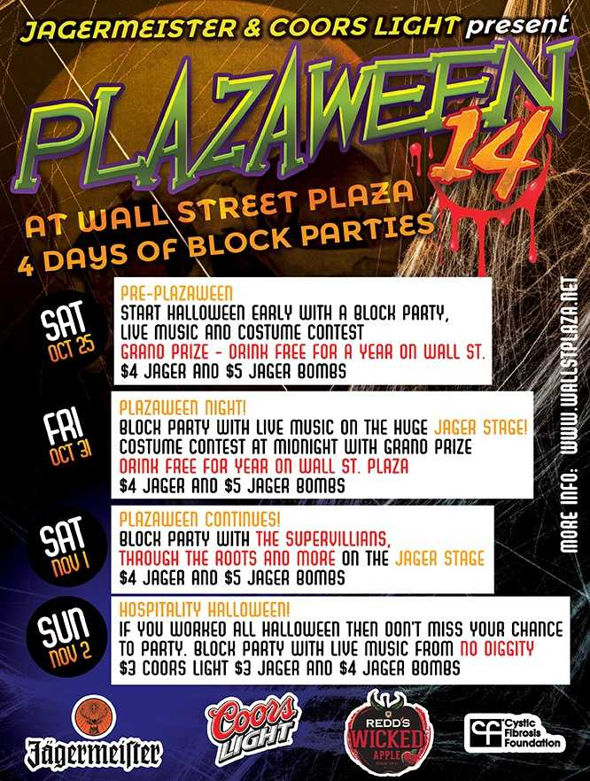 4. Plazaween on Wall StreetWhere: Wall Street, Downtown OrlandoWhen: Fri. - Sun., all night Block party, costume contest, live music, drink specials Cost: $10