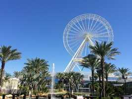The Orlando Eye is 400-feet tall. Guests will get views of Orlando theme parks, downtown and on a clear day, the east coast and Kennedy Space Center.