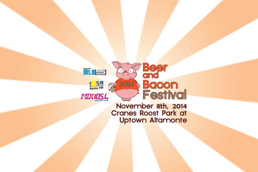 3.2nd Annual Beer and Bacon FestivalWhen: Sat., 3-7 p.m.Where: Cranes Roost Park,274 Cranes Roost Blvd., AltamonteSprings, FLCost:$25 pre-sale $35 at door, general admission is freeThe Beer and Bacon Festival will pay homage to the glorious pig and the tastiest craft brews.You can sip your way through the festival with over 30 craft beers whilepigging out on bacon inspired eats from some ofOrlando's restaurants including:4 Rivers SmokehouseMiller's Ale House Altamonte SpringsOmaha SteakhouseThe Hammered LambLittle Lamb Catering & EventsFood is not included in ticket price but sold separately. Get tickets here.
