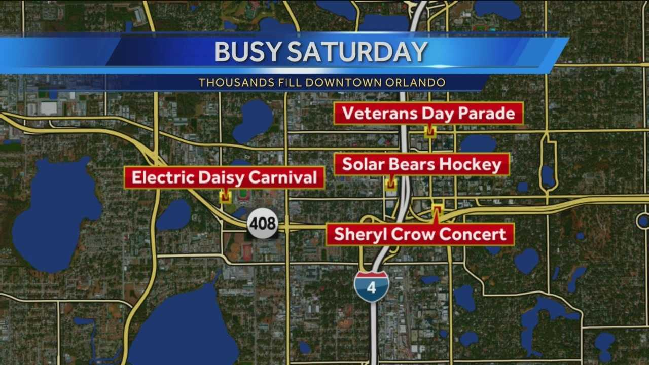 It all began with the Veterans day parade this morning and tonight the Electric Daisy Carnival has filled Tinker Field. Hockey will take over the Amway Center and a big crowd is expected for a free Sheryl Crow concert at the New Dr. Phillips Center for the performing Arts.